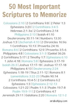 Print this free scripture memory verses list with 50 important scriptures to memorize... Looking for a way to begin memorizing scripture? Print this list and work on one a week. {Includes FREE printable }