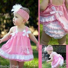 Bebê Menina Vestido plissado Top + conjunto De Calça Nova Capa de fralda Bloomers Tamanho 0-3y adorável in Roupas, calçados e acessórios, Roupas para bebês e crianças pequenas, Roupas para meninas (recém-nascida a 5T) | eBay
