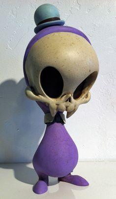 "Lavender Vampire ARTIST: Kathie Olivas & Brandt Peters TITLE: Lavender Vampire SIZE: 9"" Tall MEDIUM: Oil, Acrylic on Resin"