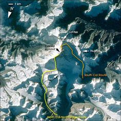 View from space showing South Col route and North Col/Ridge route for climbing Mt Everest South Col, Monte Everest, Climbing Everest, World History Lessons, Mountain Climbing, Rock Climbing, My Dream Came True, Top Of The World, Amazing Adventures
