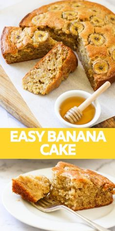 This easy banana cake is light, moist and full of flavour. It's perfect for sharing for afternoon tea and is a great way to use up overripe bananas. Top your cake with banana slices and cinnamon sugar Banana Recipes Easy, Easy Cake Recipes, Sweet Recipes, Baking Recipes, Dessert Recipes, Recipe For Moist Banana Cake, Easy Banana Desserts, Healthy Banana Cakes, Food Cakes