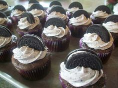 These cupcakes are foryou if you love oreo's! Not only is there oreo's in the frosting but there is a whole oreo at the bottom of each cu...