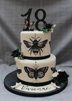 Moth tattoo cake - cake by RockCakes Pretty Cakes, Beautiful Cakes, Amazing Cakes, Fondant Cakes, Cupcake Cakes, Cupcakes, Tattoo Cake, Moth Tattoo, Goth Cakes