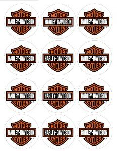 """Amazon.com: Single Source Party Supplies - 2.5"""" Harley Davidson Motorcycle Cupcake Edible Icing Image Toppers #3: Toys & Games"""