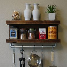 Handmade kitchen shelf with pot rack bar. A perfect addition to any home kitchen, apartment, or condo.    Made from solid wood. It has been sanded down,