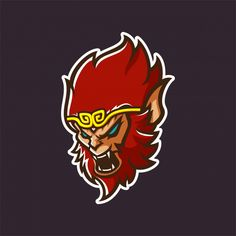 red monkey king with angry face modern mascot logo template for sport/e-sport te. Logo Esport, Logo Branding, Team Logo, E Sports, Lacrosse, Angry Face, Esports Logo, Game Logo Design, Monkey King