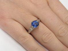 Gorgeous!  #NaturalBlueSapphire showcased in a stunning #Platinum #AntiqueFiligree detailed engagement ring.  #Beautiful !!!!