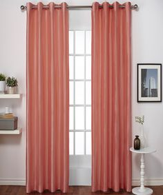 Coral Chatra Curtain Panel - Set of Two
