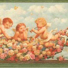 Victorian Wallpaper Murals | Victorian Cherubs Wallpaper Border Victorian Wallpaper, Wallpaper Murals, Cherubs, Painting, Art, Art Background, Painting Art, Kunst, Paintings