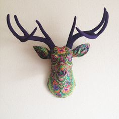 Green Paisley Deer Head Wall Mount by BananaTreeStudios on Etsy, $189.00