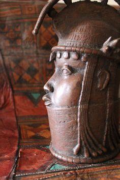 Royal BRONZE COPPER King sculpture.  Benin head  Oba Ife