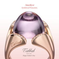 Tabbah Jewellery-   A mesmerizing Amethyst, symbol of protection, set in a skillfully crafted Rose Gold 'Copacabana' Ring -  Inspired by Rio de Janeiro's Sugarloaf Mountain, the 'Copacabana' collection set with nature's finest colorful stones.
