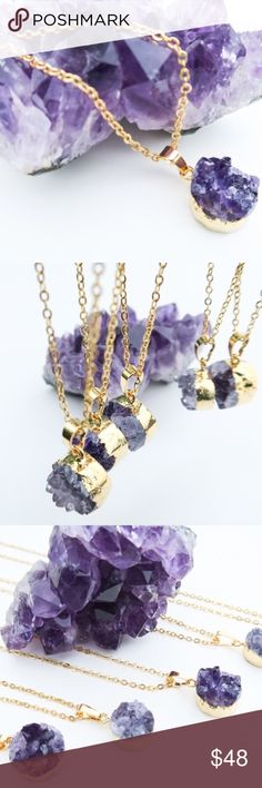 """Raw Amethyst Healing Necklace Raw amethyst necklace handcrafted in the US. Necklace features 24K gold plated 18"""" chain and 0.5"""" round pendant with pure amethyst stone. Each piece is unique in shape.   PRICE FIRM  NO TRADES Bchic Jewelry Necklaces"""