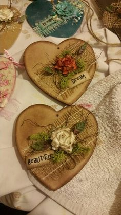 Mdf distressed and decorated hearts - Mdf distressed and decorated hearts Mdf distressed and decorated hearts Valentine Day Love, Valentine Day Crafts, Vintage Valentines, Home Crafts, Diy And Crafts, Paper Crafts, Heart Decorations, Valentine Decorations, Heart Crafts