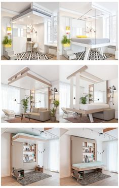 History of the Murphy Bed Funky Furniture, Bed Furniture, Furniture Design, Bedroom Loft, Bedroom Decor, Murphy Bunk Beds, Bed Design, House Design, Space Saving Beds
