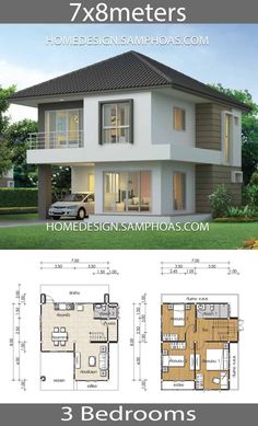 House design Plans with 3 Bedrooms Tiny House Design Bedrooms design House Plans Model House Plan, House Layout Plans, Dream House Plans, Small House Plans, House Layouts, Bungalow House Plans, 2 Storey House Design, House Front Design, Small House Design