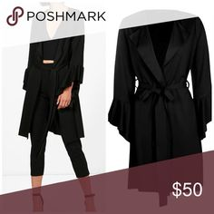 FLUTED SLEEVE WRAP FRONT DUSTER Beautiful open front duster, drop lapels, cloth tie, fluted  sleeve treatment transitions a favorite summer silhouette into fall. Lightweight poly/elastane blend gives a light faux suede appearance. Total length is 37 inches from neckline to hemline. Boohoo Jackets & Coats
