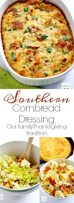Southern Cornbread Dressing (Our Thanksgiving Tradition) - - This southern cornbread dressing has been enjoyed in our family every Thanksgiving since I can remember. It is so simple and delicious, and perfect alongside oven roasted turkey breast! Thanksgiving Side Dishes, Thanksgiving Desserts, Thanksgiving Turkey, Christmas Desserts, Southern Thanksgiving Recipes, Thanksgiving Dressing, Thanksgiving Prayer, Thanksgiving Traditions, Thanksgiving Outfit