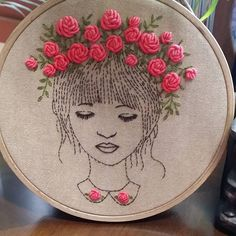 # girl illustration with rose hand embroidery  장미화관을 쓴 소녀... #Illustration  embroidery  #일러스트자수