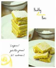 I LOVE this lemon bar recipe. It's my absolute favorite. Easy, perfectly tart, and only 35 calories each!