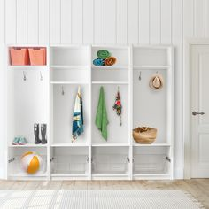 Summer fun calls for summer storage. Repin if you wish your mudroom looked like this! #Mudroom #Entryway #HomeOrganization Fun Call, Kitchen Pantry, Mudroom, Home Organization, Summer Fun, Entryway, Garage, Shelves, Furniture