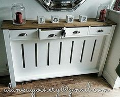 *hallway Dresser* Handmade to Measure Radiator Cover Cabinet Bespoke for sale online Kitchen Radiator, Radiator Shelf, Custom Radiator Covers, Home Radiators, Hallway Cabinet, Stair Landing, Air Conditioner Heater, Hallway Decorating, Apartment Therapy