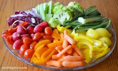 Rainbow veggie tray ideas. A few different ideas for how to put together a vegetable tray  | onelittleproject.com