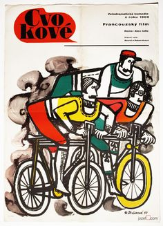 Cycling Poster designed for French movie - The Hotshots / Les Cracks. Poster design by Olga Stárková, 1969. Amazing large A1 Poster Size. Price: £155.00 #MoviePoster #CyclingPoster #VintagePoster #OlgaStarkova #60sMoviePoster