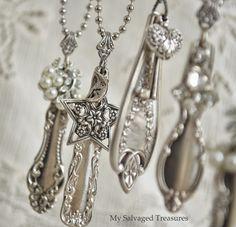 ❥ silverware necklaces