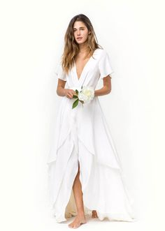 Busty dawn in white dress
