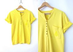Basic Yellow Tshirt 90s Pocket Tee Simple Everyday Button Front Henley Short Sleeve Summer Cotton Logo Emblem Top Womens Size Small