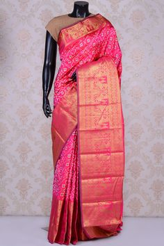 Hot pink lovely patola silk saree with hot pink & gold border-SR19844 - Pure Patola/Ikkat Silk - PURE HANDLOOM SILK SAREE - Sarees