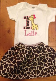Birthday girl giraffe themed bodysuit and skirt. Can customize with colors and first name. ADORABLE!!!