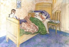 """Carl Larsson (1853-1919), """"In Mother's Bed"""""""