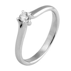 Pierścionek z białego złota z brylantem o masie 0,10 ct. Próba 0,585 Engagement Rings, Jewelry, Enagement Rings, Wedding Rings, Jewlery, Jewerly, Schmuck, Jewels, Jewelery