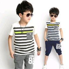 Online Shop Grátis frete 2014 hot summer listrado algodão roupas de bebê grande menino terno meninos cartas desportivas conjunto de roupas meninos roupas de bebê menino Aliexpress Mobile