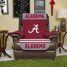 Alabama Crimson Tide Quilted Recliner Chair Cover, Red
