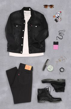 Outfit grid - Black denim & boots