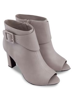 CHARLES & KEITH Taupe Peep Toe Ankle Heel Boots 露趾踝靴