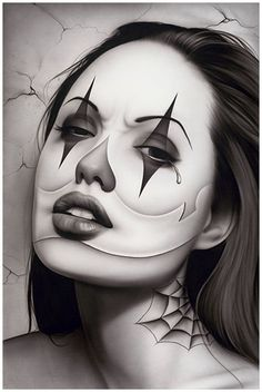 Tears of a Clown by Spider Latina Payasa Tattoo Poster Fine Art Print