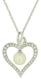 Sterling Silver White Freshwater Pearl/Created White Sapphire Fashion Pendant
