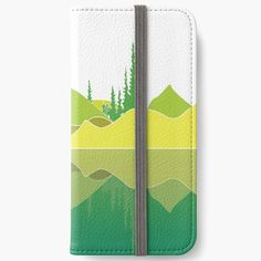 Illustration of a lake scene and a reflection. The artwork makes use of simple lines, a lime colour pallet and geometric pattern. Did you know that lakes are large bodies of water that are surrounded by land and are not part of an ocean?  #phonewallet #lakescene #murkywater #foresttrees #mountains #reflections #naturelover #geometricpattern #green #shades of lime #simplistic lines #aesthetic #minimalist #visco #tiktok Iphone Wallet, Iphone Cases, Green Shades, Simple Lines, Color Pallets, Vignettes, Lakes, Bodies, Reflection