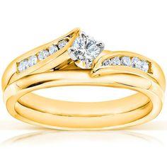 Annello by Kobelli 14k Yellow Gold 1/4ct TDW Diamond Bridal Ring Set (G-H, I1-I2) (Size 8), Women's