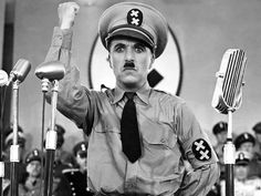 "Charlie Chaplin in ""The Great Dictator""."