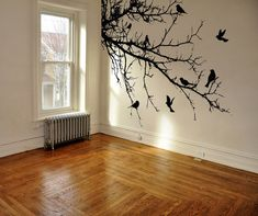 Vinyl Wall Decal Sticker Birds Tree Branch by Stickerbrand Wall Decal Sticker, Wall Stickers, Tree Design On Wall, Wall Murals, Wall Art, Bird Tree, Tree Designs, Tree Wall, Paint Designs