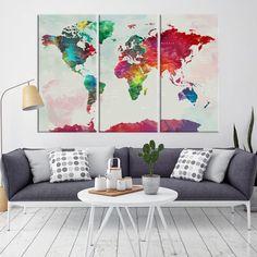 76626 - World Map Wall Art- World Map Canvas- World Map Print- World Map Poster- World Map Art- World Map Push Pin- Push Pin World Map-
