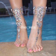 fb55473d9ce9a Barefoot Wedding Sandals Beach Bohemian Foot Bling Gold Rhinestone Jewelry