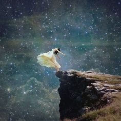 Transcendentalist art and believes favor being one with nature. In this picture the girl is completely immersed with nature. She is physically going with the land, sky and wind. Art Prophétique, Meditation, Kunst Online, Prophetic Art, Amaterasu, Belle Photo, Night Skies, Urban Art, Fantasy Art