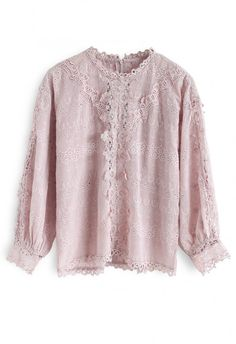 8f664213a71 Aroma Once More Embroidered Eyelet Top in Pink - TOPS - Retro