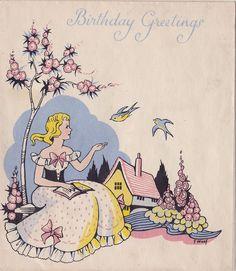 Vintage Art Deco Birthday Card  - Girl And Bluebirds - Hollyhocks - F. Woof